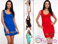 moda donna mini abito girocollo tunica top senza maniche DIMENSIONE 8-12 8486