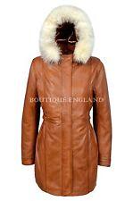 Ladies Real Leather Jacket Tan Napa Classic Mid Length Fur Hooded Coat Celia