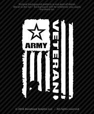 Distressed Army Veteran Flag Vinyl Decal Military Window Sticker - 4 Sizes