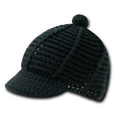 Black Crochet Knit Reggae Rasta Kufi Winter Visor Jeep Beanie Cap Caps Hat Hats