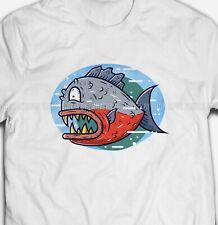 FUNNY CARTOON PIRANHA Fish Animal Fishing River 100% Cotton Mens T-shirts Tee