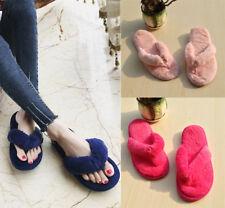Women Plushed Fleece Flip Flops Slippers Flat Heel Maternity Warm Winter Shoes