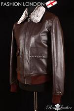 'BOSTON' Men's Brown Fur Collar Aviator Bomber Real Nappa Leather Jacket