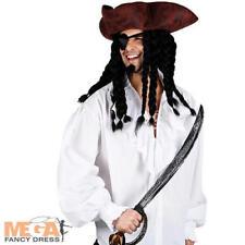White Pirate Shirt Mens Fancy Dress High Seas Buccaneer Adults Costume Accessory