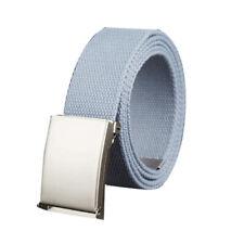 "Unisex Canvas No Holes Slide Buckle Adjustable Waist Belt Width 1 5/8"" & 1 1/2"""