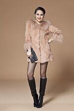 Rex Rabbit Fur Super Massive Mongolian Wool  Collar Coat Jacket Overcoat