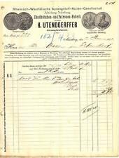 Rechnung 1900, Zündhütchen-Fabrik Utendoerffer NÜRNBERG