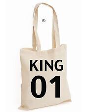 King Queen Corona que es mío es mía Par Navidad Algodón Tote King (01,Bag)