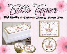 Unicorn face Birthday Cake topper Edible paper sugar sheet stars glitter flowers