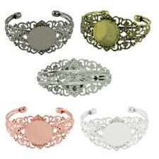 2pcs Brass Cuff Bracelet Blanks Round Bezel Bracelet Trays Bracelet Blank