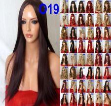 Black Plum Red Fashion real natural sleek long poker straight Women Adult Wigs