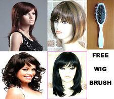Ladies Fashion Wigs Blonde Brown Long Short Straight Wavy Wig+ FREE WIG BRUSH