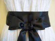 Nuevo Tejido Liso Negro satinado Sash envoltura alrededor de cinturón de vestir de actualización de arco Corbata Auto