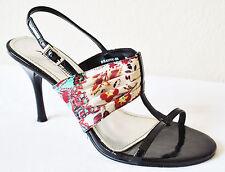 Anne Michelle Black Vegan Asian Open Toe Dressy Slingback Heeled Pumps 8.5