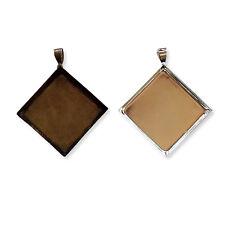24x24mm ARGENT BRONZE Diamant Collier Pendentifs Cabochon plateaux bases Blanks À faire soi-même