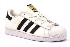 ADIDAS SUPERSTAR BA8378 BIANCO NERO Bambina Bambino Sneakers Lacci Scarpe Pelle