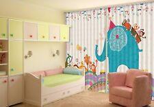 3D Blue Elephant 6 Blockout Photo Curtain Curtains Drapes Fabric Window CA Lemon