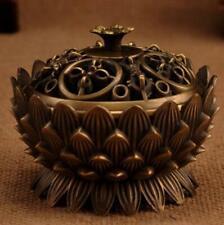 Copper Lotus Incense Burner Alloy Mini Tibetan Sandalwood Censer Home Decor