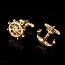 CLASSIC GOLD SILVER TONE ANCHOR RUDDER SHIP BOAT CAPTAIN CUFFLINKS MENS GIFT