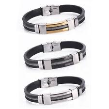 Fashion Unisex's Men Stainless Steel Cuff Black Rubber Bangle Bracelet Jewelry