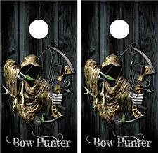 Bow Hunter Grim Reaper Black Distressed Wood Cornhole Board Decal Wrap Wraps
