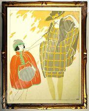 Encre & POCHOIR ART DECO 1920 André DOMIN 1883-1962 20x16cm Les Feuillets d'Art