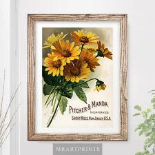 VINTAGE fiori art print poster Giallo Oro Estate Bouquet Floreale Giardinaggio