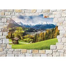 Stickers mural mur de pierre Paysage Montagne 8529