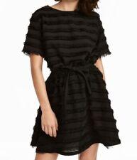 H&M BLACK SLUB STRIPED JACQUARD-WEAVE FRINGED T-SHIRT BOXED TOP with Fringes