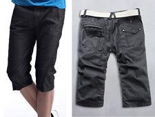 UK NEW Smart Casual Men's Grey Twisted Hem Long Cotton Shorts 28 29 30 31 32 33