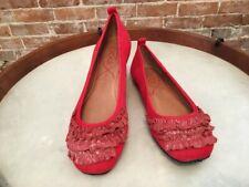 POE Maya Red Leather Ruffle Ballet Flat New