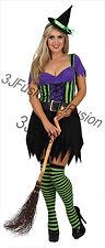Women Ladies Halloween Enchanting Witch Fancy Dress Horror Glamour  Costume (ET)