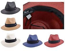 pour hommes femmes Compressible papier paille été Panama Fedora chapeau