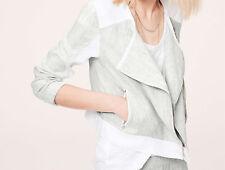 Ann Taylor LOFT Lou & Grey Microstripe Linen Moto Jacket Size X-Small NWT White