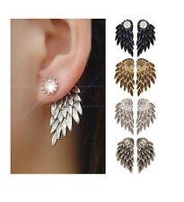 Womens Silver Gold Angel Feather Wing Earring Rhinestone Hook Ear Stud Hoop Gift