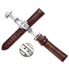 15-22mm Unisex Genuine Leather Watch Belt Strap Watchband Butterfly Clasp Buckle