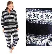 Girls Teen Luxury FairIsle Onesie Onesies All In One Pyjamas Navy Blue Aztec Zip