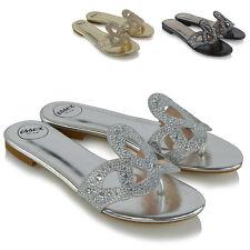 Sandalias De Mujer Slip On Diamante señoras Toe Post Plana Holiday Beach Slider Mulas
