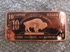 Rame Rame lingotto American Buffalo 10 OZ ONCE 999 * RAR * COPPER NUOVO RARO
