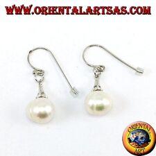 Orecchini d'argento 925  pendenti con  perla d'acqua dolce e  zirconi