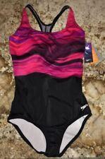 SPEEDO Stream Ultraback Compression Hydro Pink Black 1pc Swim Suit Women 8 10 12