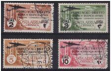 1934 CIRENAICA - POSTA AEREA - VOLO ROMA BUENOS AIRES SERIE COMPLETA USATA € 500