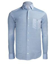 Zilli Men's Blue Cotton Linen Dress Casual Shirt Classic Fit,size 38,39,40,41,44