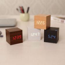 USB Cube Carré Numérique LED Réveil Calendrier En Bois Thermomètre Maison Décor