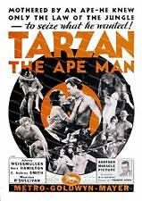 Tarzan the Ape man, Vintage film advertising poster reproduction.