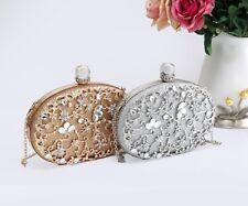 Women Floral Diamante Embellished Clutch Purse Bag/Wedding Evening Party Handbag