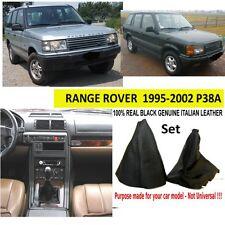 Range Rover P38 Cuero Genuino De Freno De Mano Gear polainas Negro Nuevo