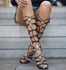 Schutz Shyla Black Nappa Leather Lace-up Leather Gladiator Sandals Tall Erlina