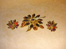 Beautiful Graziano Flower Pin & Earring Set in Rich Deep Marquis Rhinestones