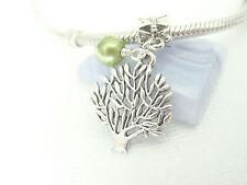 Silver Tone Tree of Life Faimily Tree Green Pearl Dangle Charm fit Euro Bracelet